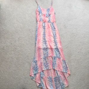 Candie's Pink Chiffon Print High Low Maxi Dress